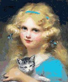 Girl with kitten cross stitch kits