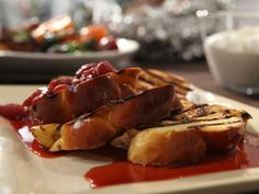 Dessert for breakfast? If you insist... (Grilled French Toast with Strawberries and Rosemary)