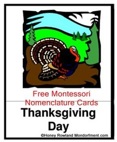 Montessori Thanksgiving Nomenclature Cards Free Download