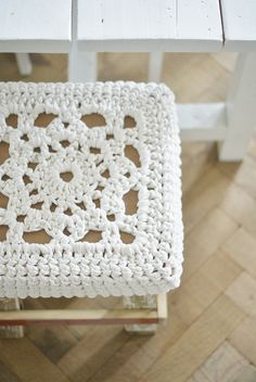 Crochet stool cover by Wood and Wood Stool