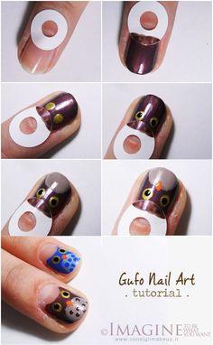Owls :) thoughts, owl nails, nail art tutorials, fingernail art, nail designs, manicur, nail arts, nail tutorials, owls