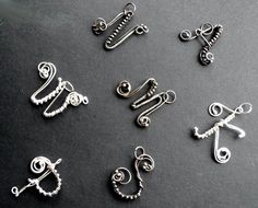 letter PENDANT - alphabet SILVER wire wrapping, initial, name signature