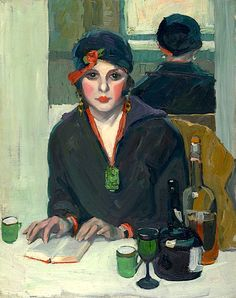 Jane Peterson (American, 1876-1965) - Reading at a Cafe (ca. 1920)