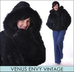 Vintage Genuine Black Natural Rabbit Fox Fur Jacket Coat Satin Lined Hoodie L XL