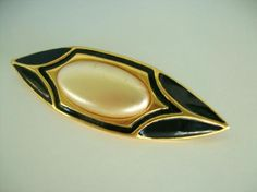Napier Gold Tone Black Onyx and Faux Pearl Brooch Free Shipping and Photons JUST REDUCED!!