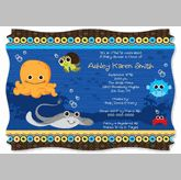 Under the Sea Baby Shower or Birthday Party Invitation.  Go to: http://www.modern-baby-shower-ideas.com/fun-baby-shower-ideas.html use coupon code: modern11 and save 11%