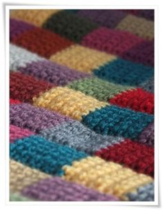 Patchwork uses up the smallest bits of yarn stash; this is the simplest of how-to's, any beginner can do this.