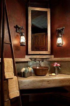 wall colors, lantern, bathroom designs, rustic bathrooms, hous, bathroom ideas, sink, light, powder rooms