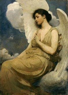 """Winged Figure =) Abbott Handerson Thayer    Winged Figure, 1889    Oil on canvas  130.8 x 95.9 cm (51 1/2 x 37 3/4 in.)  Signed in lower right: """"Abbott H. Thayer/ 1889""""  Simeon B. Williams Fund, 1947.32    American Art  Gallery 161    Exhibition, Publication and Ownership Histories        Add this item to:   Browse Related  American  American: Paint"""