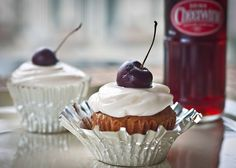 Cheerwine Cupcakes with a Vanilla Bean Cream Frosting