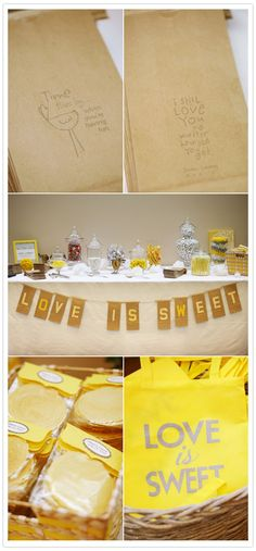 banner and candy table