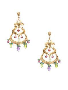 Azaara  Multi Stone Chandelier Earrings