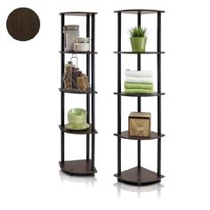 Furinno 99811DB-WG/BK Turn-N-Tube 5-Tier Corner Multipurpose Display Shelves, Set of 2 - List price: $119.99 Price: $55.62