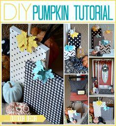 Super cute wood and fabric DIY Pumpkins Tutorial at the36thavenue.com. Love it!