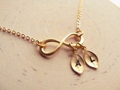 Gold Infinity Necklace with Initial Personalized by IrinSkye, $21.00