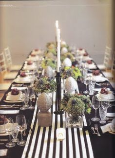 Striped table runner- adds visual length to a table-scape! (#black-and-white weddings, #rustic weddings)