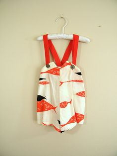 Vintage baby boy shortalls, / sunsuit  /  romper, 1950's.