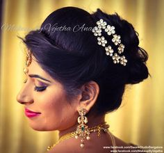 Indian engagement hairstyles with flowers