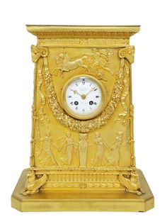 A NEOCLASSICAL STYLE BRONZE DORE MANTLE CLOCK France, Circa 1900, Mechanism 1855