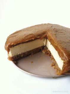 The BEST Vegan Cheesecake EVER, Caramel Blondie Brownie Cheesecake (Vegan/Raw) from damyhealth.com