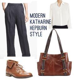 Modern casual Katharine Hepburn look.