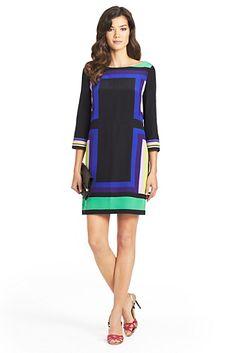 Diane von Furstenberg - DVF Avery Geometric Print Silk Shift Dress In Geometric Placement