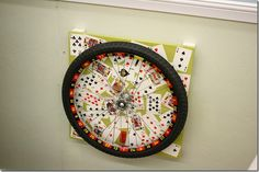 Habitat Restore Restyle Event: Kerri and Trevor's Playroom - roulette wheel from an old bicycle tire