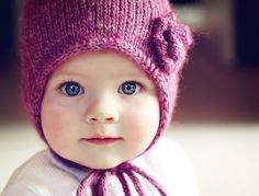 precious baby with knitted hat