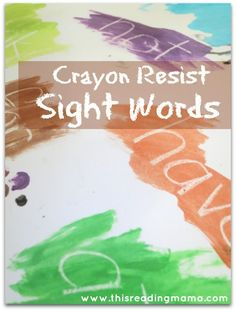 Crayon Resist Sight Words ~ paint, find, read,and write sight words | This Reading Mama
