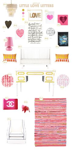 pink and yellow baby nursery inspiration board