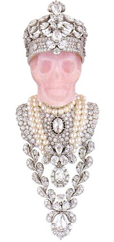 Roi D'Opalle collection 2009. Victoire de Castellane for Dior Haute Joaillerie. Pink skull with crown pin / brooch