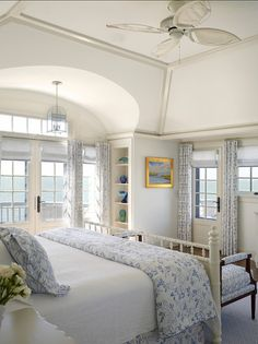 Charming Blue & White Bedroom .
