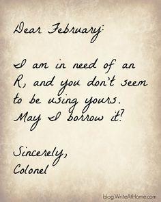 Dear February...