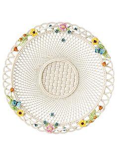 Belleek Gerbera Butterfly Plate Basket