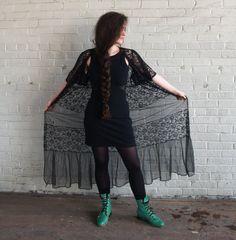 beautiful long black lace and chiffon robe.