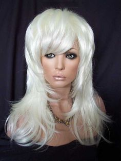 Gemma Wig Long Layered Drag, DragWigs.com, White Blonde. Only one left of this discontinued style.