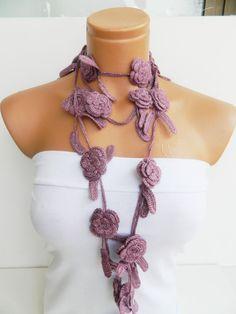Hand made crochet Pink Flower Lariat Scarf by WomanStyleStore, $28.00