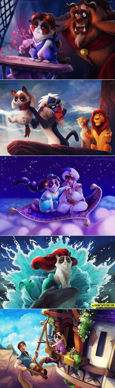 Grumpy Cat in Disney Movies… more at http://www.funnymemes.co
