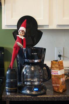 Elf on a Shelf - Making the coffee
