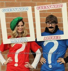 """Cool Couple Costume: """"Guess Who"""" We Were for Halloween?... This website is the Pinterest of costumes"""