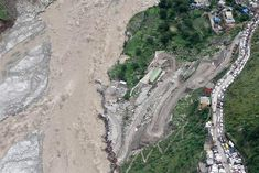 In this handout photograph released by The Ministry of Defence on June 18, 2013, shows an aerial view of flood damage in the northern Indian state of Uttarakhand on June 18, 2013 Posted by floodlist.com #floods #uttarakhand