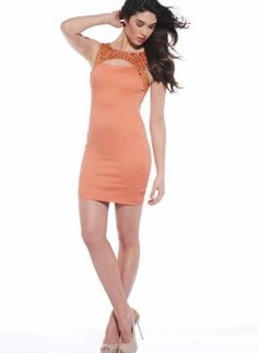 Orange Sleeveless Embellished Dress with Cutout Neckline,  Dress, jewel embellishment  sleeveless, Chic