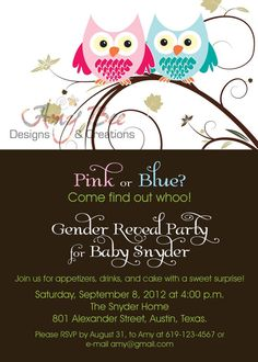 Baby Shower Gender Reveal Invitation  Owl Theme by AmyBeeCreations, $18.00
