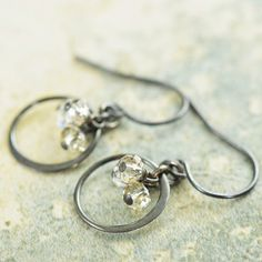 Clusters of Shimmering moonlight wire wrapped Swarovski crystal earrings