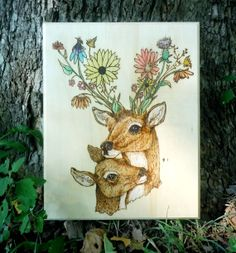 Deer with Flower Antlers // Forest Friends Wood Burning  // Pyrography Art