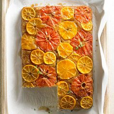 An alternative to the typical pumpkin desserts--love this fresh Citrus Upside-Down Cake #friendsgiving #partycrafters #thanksgiving upsidedown cake, bake, food, gardens, upside down cakes, citrus upsidedown, citrus cake, dessert, eat cake