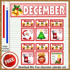 Download a FREE Christmas classroom calendar set to display on your bulletin board.  These free calendar pieces fit perfectly inside pocket charts.  Be sure to download all 12 of the FREE January – December classroom calendars that are available on Unique Teaching Resources.