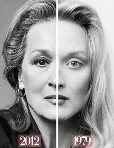 Meryl Streep now and then. I believe this is the definition of 'aging gracefully'. Beautiful <3