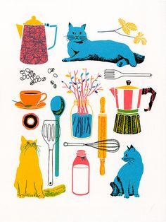 Kitchen, Original Screenprint 9x12 by Boyounillo $20 9x12 #walls #kitsch #kitchen #cat #retro