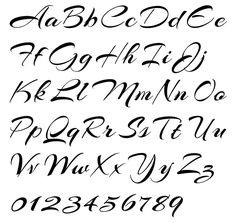 Cursive Writing Alphabet Arizonia Alphabet Example - Typeface by Rob Leuschke - Pointed Brush.